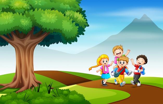 Um grupo de criança indo para a ilustração da escola