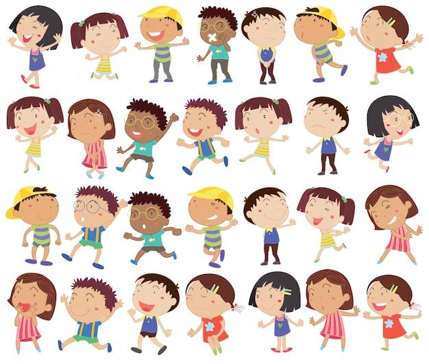 Um grupo de crianças felizes