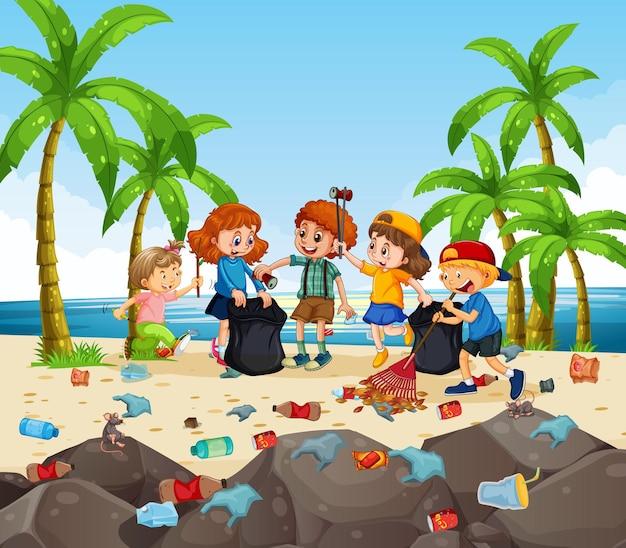 Um grupo de crianças voluntárias limpando a praia