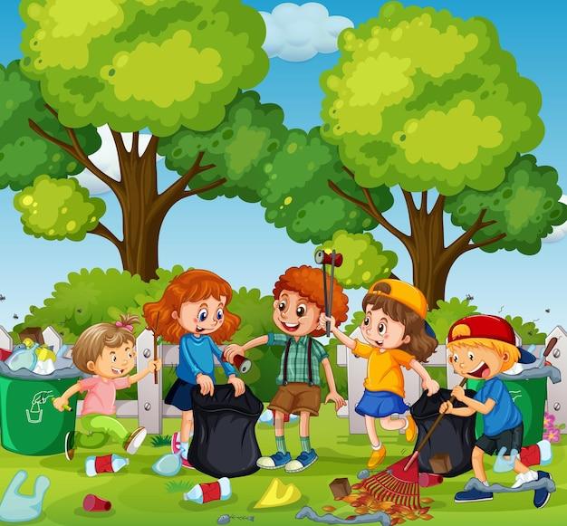 Um grupo de crianças voluntárias limpando o parque