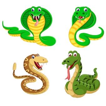 Um grupo de desenhos animados de cobra