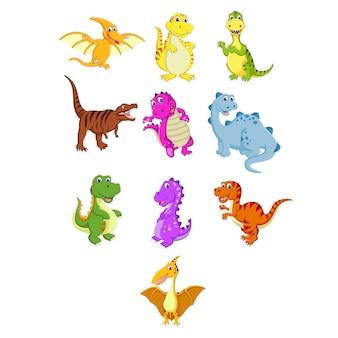Um grupo de desenhos animados dinossauro bonito