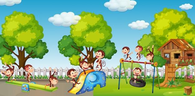 Um grupo de dinheiro jogando no playground