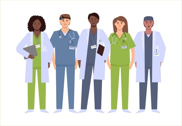 Um grupo de diversos profissionais médicos.
