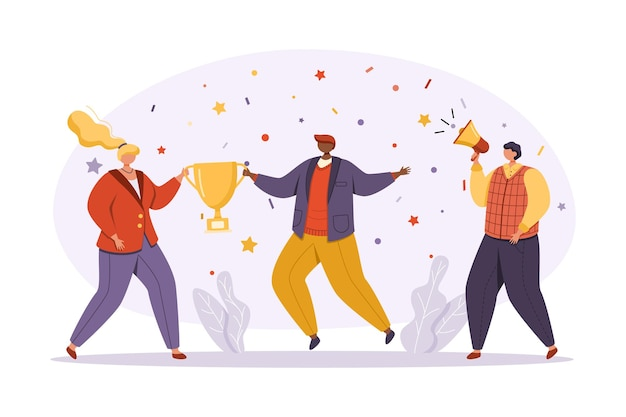 Um grupo de empresários em trajes de negócios modernos e brilhantes comemora o sucesso. uma mulher e um homem seguram uma xícara e o colega ao lado fala em um megafone.