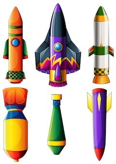 Um grupo de foguetes coloridos