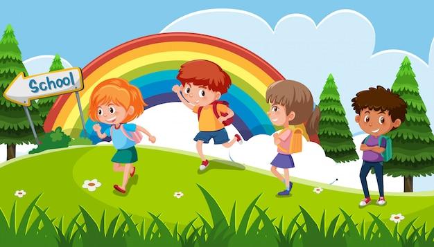 Um grupo de garoto indo para a escola
