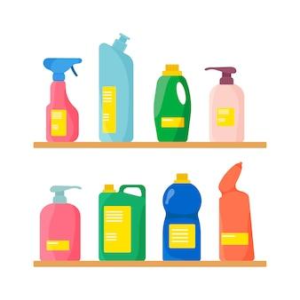 Um grupo de garrafas de material de limpeza doméstico