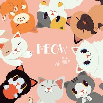 Um grupo de gato feliz sentar em um círculo.