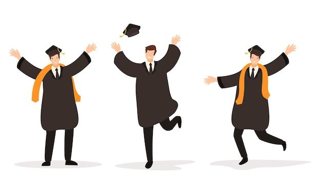 Um grupo de graduados que se formaram com sucesso na universidade
