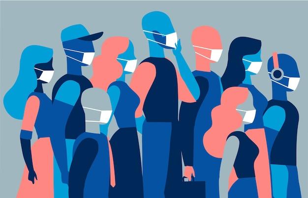 Um grupo de homens e mulheres usando máscara protetora médica