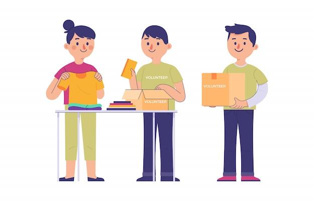Um grupo de jovens voluntários para coletar doações de roupas e livros
