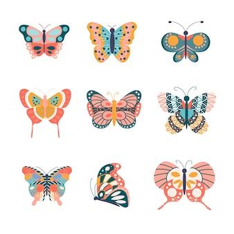 Um grupo de lindas borboletas linda ilustração