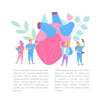 Um grupo de médicos examina um enorme coração humano