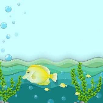Um grupo de peixes amarelos no fundo do mar