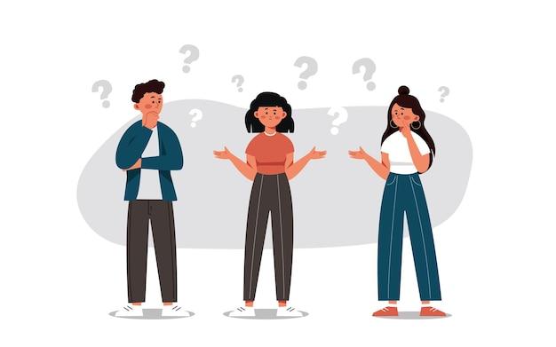 Um grupo de pessoas com perguntas ilustração