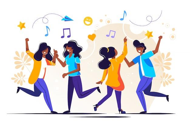 Um grupo de pessoas dançando e se divertindo ao som da música