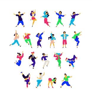 Um grupo de pessoas dançando em diferentes poses e emoções.