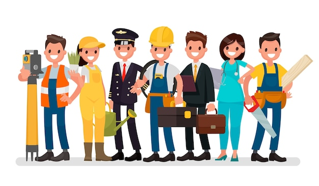 Um grupo de pessoas de diferentes profissões