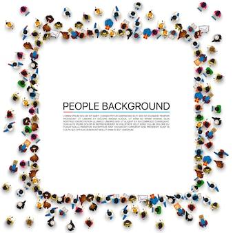 Um grupo de pessoas em forma de banner de quadro, isolado no fundo branco. ilustração vetorial