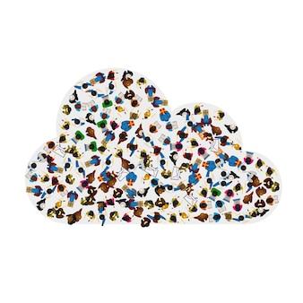 Um grupo de pessoas em forma de ícone de nuvem, isolado no fundo branco. ilustração vetorial