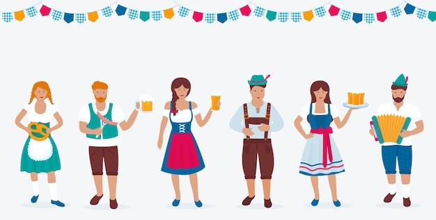 Um grupo de pessoas em trajes tradicionais alemães celebra a oktoberfest. lederhosen e dirndl. um homem com um chapéu verde com uma pena toca acordeão. cerveja, salsicha, pretzel.