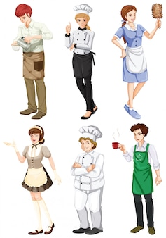 Um grupo de pessoas envolvidas em diferentes profissões