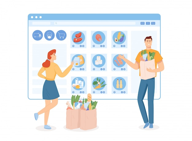 Um grupo de pessoas que fazem compras on-line via telefones