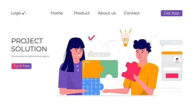 Um grupo de pessoas trabalhando no projeto. conceito de negócio, tópicos, soluções de projeto, modelo de página da web de destino para relatório, folheto, marketing, folheto, publicidade, folheto, estilo moderno de vetor.