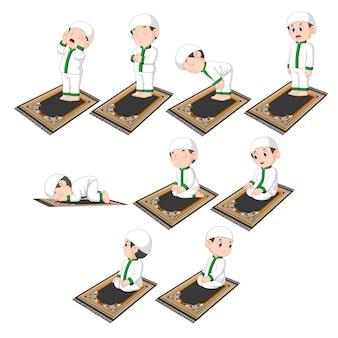 Um grupo de procedimentos de orar fazendo pelo menino fofo