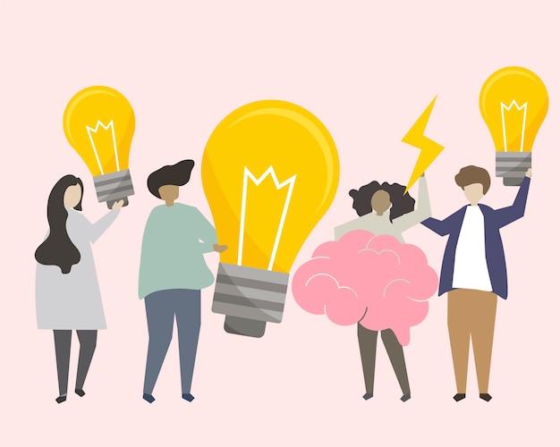 Um, grupo pessoas, brainstorming, idéias, ilustração