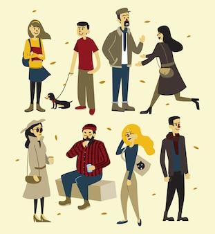 Um, grupo pessoas, em, outono, estação, equipamento