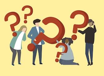 Um, grupo pessoas, segurando, pergunta, marca, sinais, ilustração