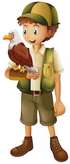 Um, guarda-jardim zoológico, com, águia