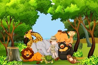 Um guardião do zoológico com animais
