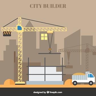 Um guindaste na construção de um edifício