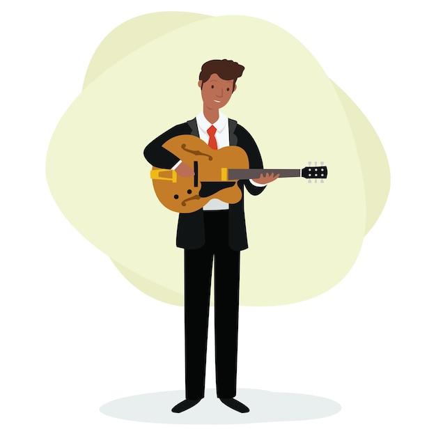Um guitarrista está tocando jazz no palco