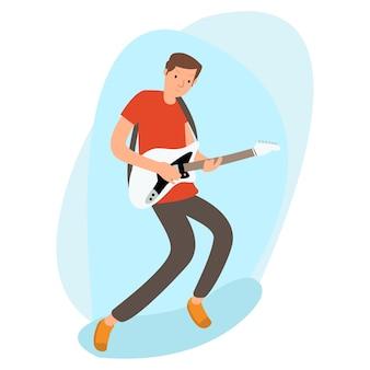 Um guitarrista muito animado em um show de rock
