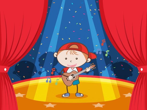 Um guitarrista sob as luzes da ribalta