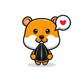 Um hamster fofo adora comer ilustração de desenho animado