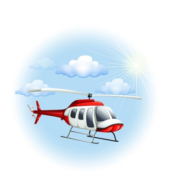 Um helicóptero no céu