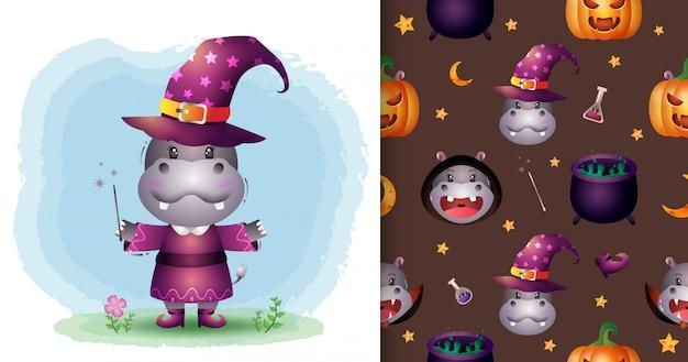Um hipopótamo fofo com uma coleção de personagens de halloween. padrão sem emenda e desenhos de ilustração