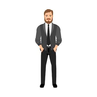 Um hipster barbudo em roupas cinza