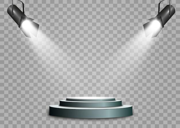Um holofote brilha no palco para a cerimônia de premiação. refletor brilhante.