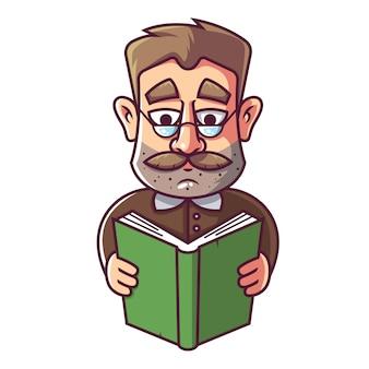 Um homem adulto com óculos e um bigode está lendo um livro.