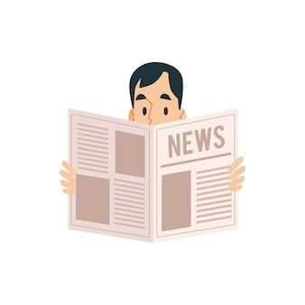 Um homem adulto segurando um jornal nas mãos e lendo as notícias.