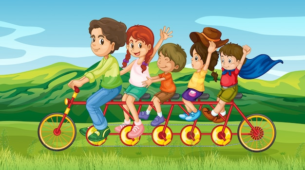 Um homem andando de bicicleta com quatro filhos