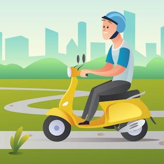 Um homem andando de scooter em ilustração de desenho animado