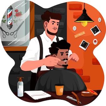 Um homem aparando a barba na barbearia