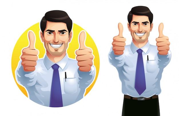 Um homem aparecendo dois polegares